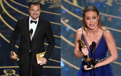 Oscars 2016 Leonardo Dicaprio,Brie Larson  Best Actor,Actress Respectively