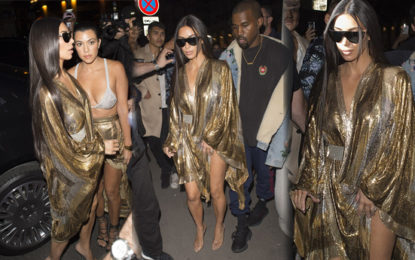 Kim Kardashian and Sister Kourtney Match in Skimpy Metallic Outfits