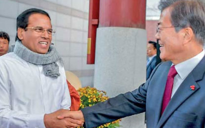 President Maithripala Sirisena Hold Discussions With South Korean President