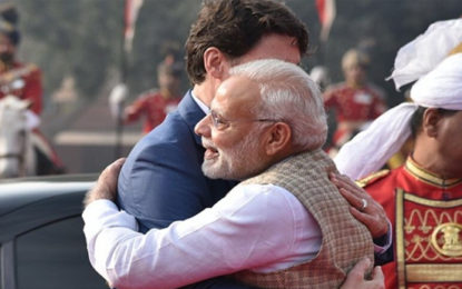 Canadian PM, Family Get Warm Welcome by PM Modi