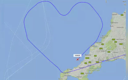 Virgin Atlantic Flight Takes Heart-Shaped Route for Valentine's Day