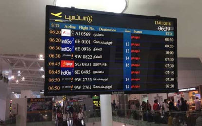 Hindi & Tamil Disappeared in Chennai Flight Information Board