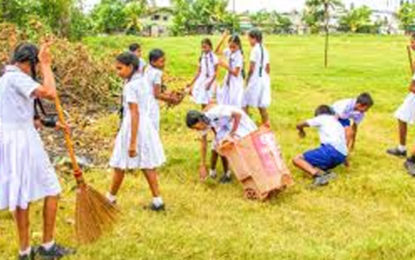 Cleaning School Premises on Sunday