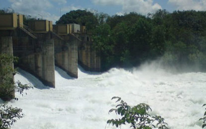 Three Sulice Gates of the Uda Walawe Reservoir Opened