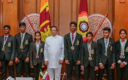 President Felicitates Medal Winners in 2018 Junior Asian Athletics Championships.