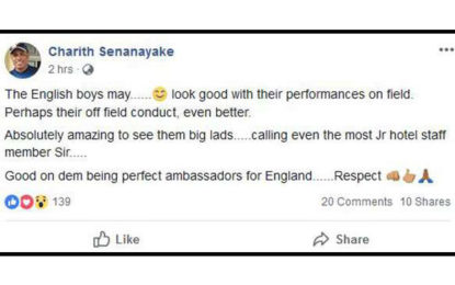 SLC Manager commends England Cricketers' off-field conduct