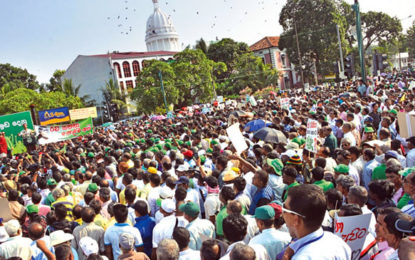 Massive public demonstration by UNP today