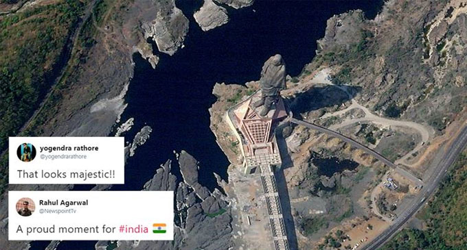World's tallest 'Statue of Unity' is visible from space; incredible satellite photo leaves Indians excited