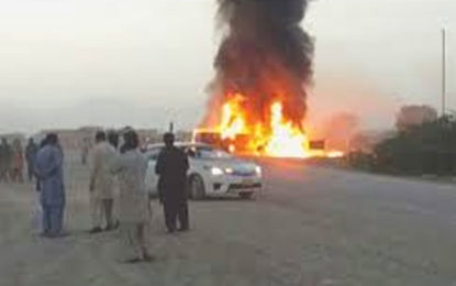27 killed in Pakistan as bus bursts into flames after crash with truck