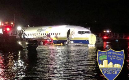 Passengers escape after plane skids off runway into river in Jacksonville, Florida