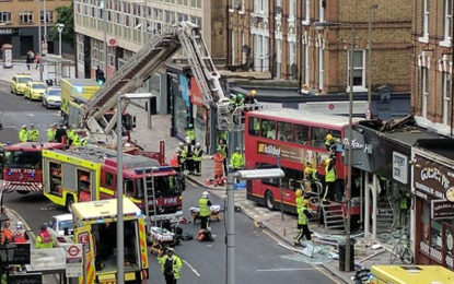 Passengers trapped after double-decker bus crash in London in Lavender Hill