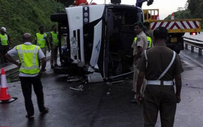 Bus Toppled on Southern Expressway