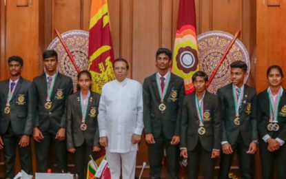 President Felicitates Medal Winners in 2018 Junior Asian Athletics Championships.