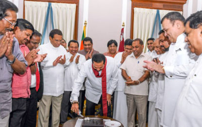 President joins to celebrate Mahinda Rajapaksa's birthday