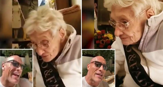 Dwayne Johnson wishes a 100-year old fan, which will melt your heart