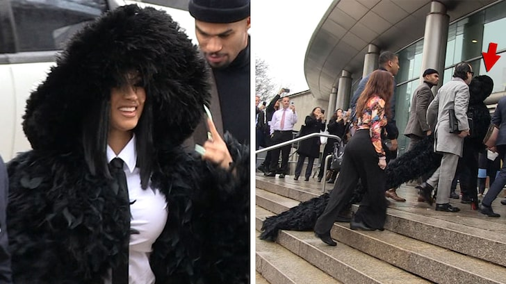 Cardi B makes dramatic court entry in large feather court