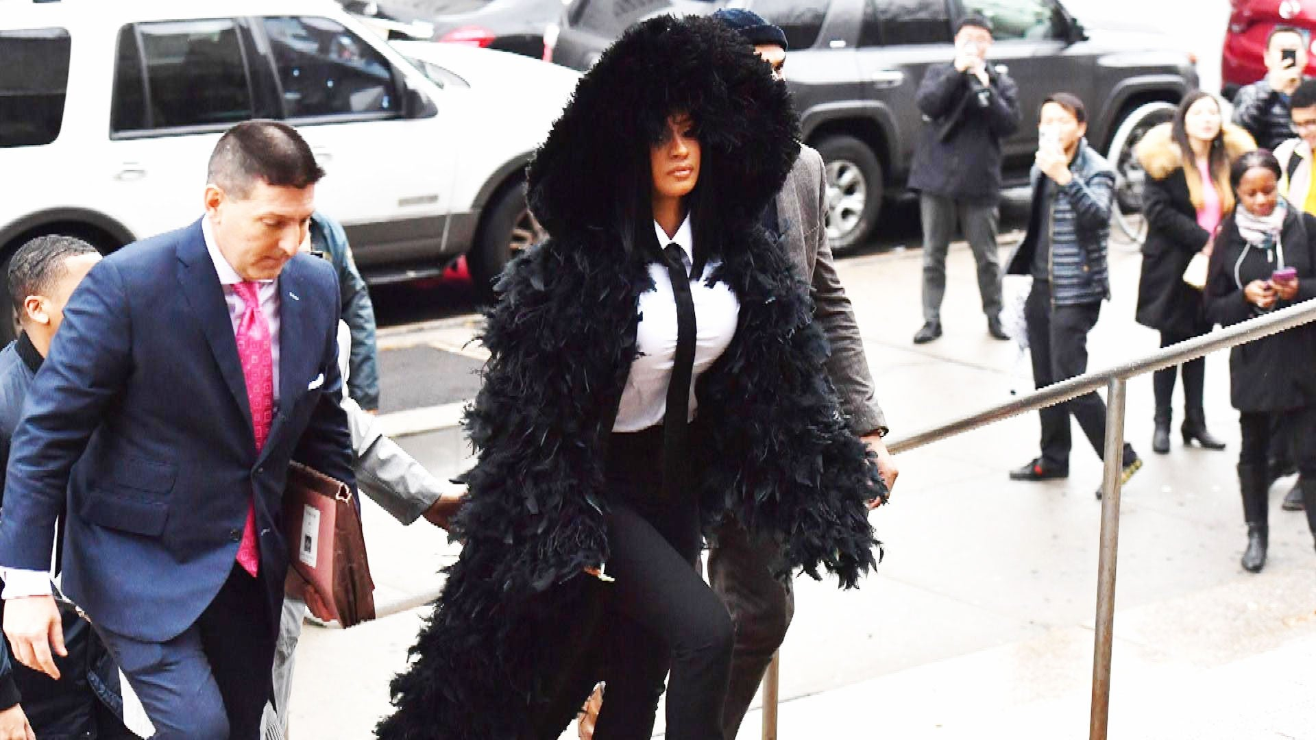 Cardi B wears see-through catsuit and ski mask for Paris Fashion Week