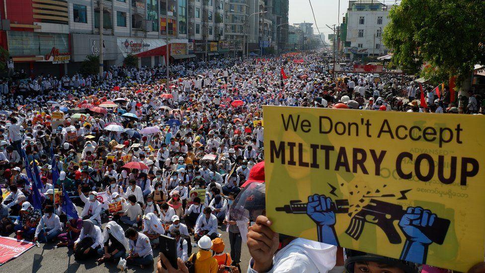 Huge crowds defy Army warning in Myanmar strike